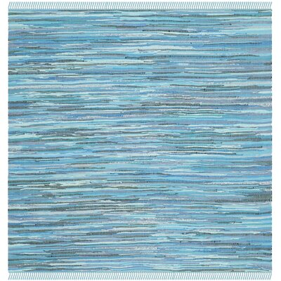 Inkom Hand-Woven Cotton Blue Area Rug Rug Size: Square 4