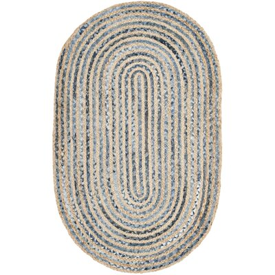 Palm Coast Hand-Woven Natural/Blue Area Rug Rug Size: Square 6