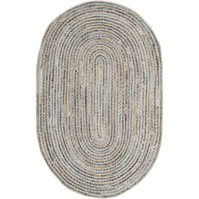 Palm Coast Hand-Woven Natural/Blue Area Rug Rug Size: Oval 4 x 6
