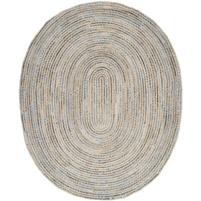 Palm Coast Hand-Woven Natural/Blue Area Rug Rug Size: Oval 8 x 10