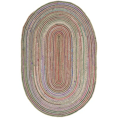Arria Hand-Woven Natural Area Rug Rug Size: Oval 5 x 8