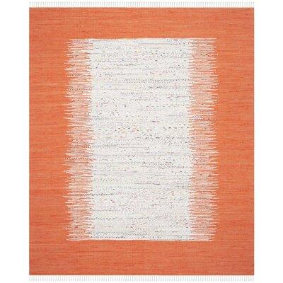Ona Hand-Woven Cotton White/Orange Area Rug Rug Size: Rectangle 8 x 10
