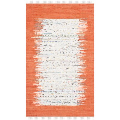 Ona Hand-Woven Cotton White/Orange Area Rug Rug Size: Rectangle 5 x 8