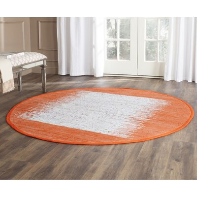 Ona Hand-Woven Cotton White/Orange Area Rug Rug Size: Round 6