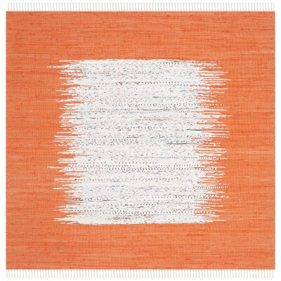 Ona Hand-Woven Cotton White/Orange Area Rug Rug Size: Square 4