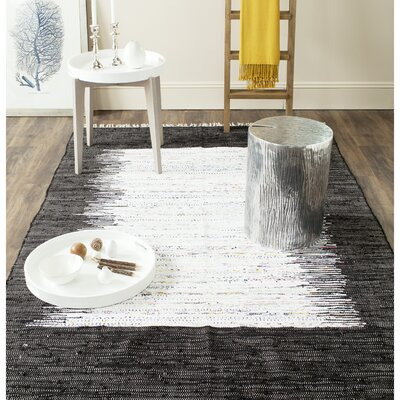 Ona Hand-Woven Cotton White/Black Area Rug Rug Size: Rectangle 26 x 4