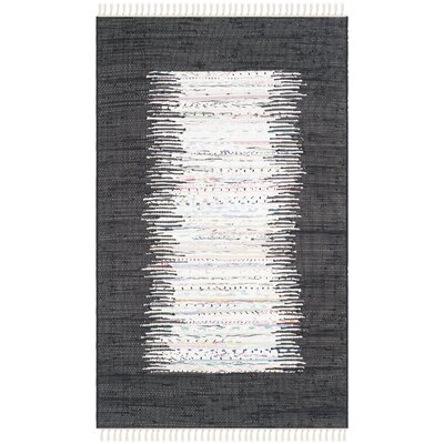 Ona Hand-Woven Ivory / Black Area Rug Rug Size: 8 x 10