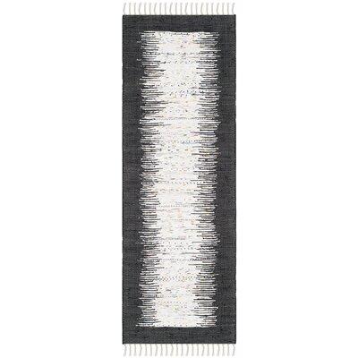 Ona Hand-Woven Ivory / Black Area Rug Rug Size: Runner 23 x 7
