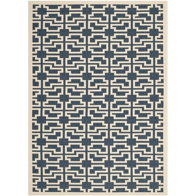 Inverness Highlands Navy/Beige Indoor/Outdoor Area Rug Rug Size: Rectangle 4 x 57