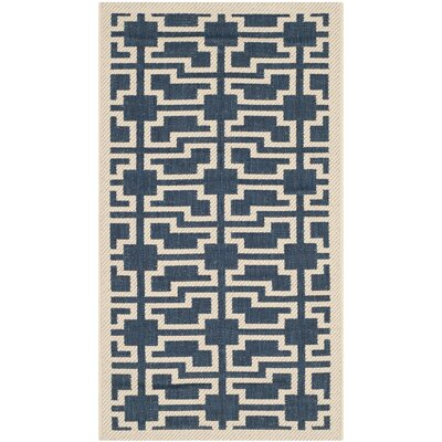 Inverness Highlands Navy/Beige Indoor/Outdoor Area Rug Rug Size: Rectangle 2 x 37