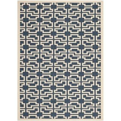 Inverness Highlands Navy/Beige Indoor/Outdoor Area Rug Rug Size: Rectangle 67 x 96