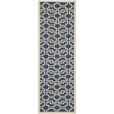 Inverness Highlands Navy/Beige Indoor/Outdoor Area Rug Rug Size: Runner 27 x 5
