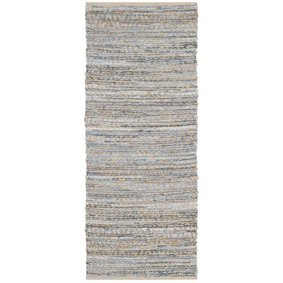 Arria Hand-Woven Natural/Blue Jute Area Rug Rug Size: Runner 23 x 6