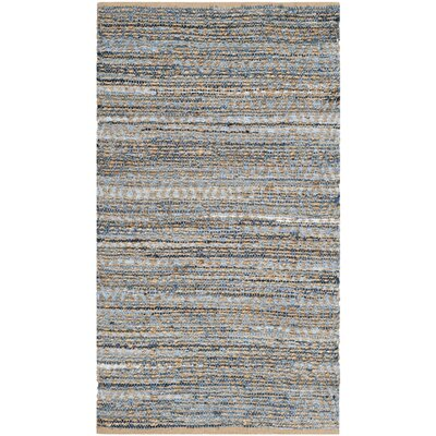 Palm Coast Hand-Woven Natural/Blue Area Rug Rug Size: 3 x 5