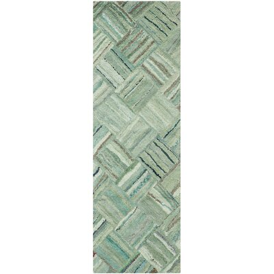 Upton Hand-Tufted Green Area Rug Rug Size: Runner 23 x 7