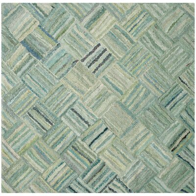 Millia Hand-Tufted Green Area Rug Rug Size: Square 6
