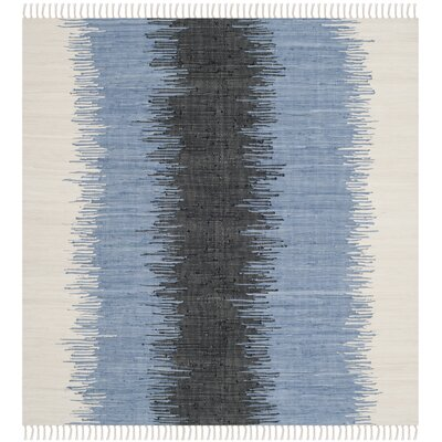 Ona Hand-Woven Grey / Black Area Rug Rug Size: Square 6