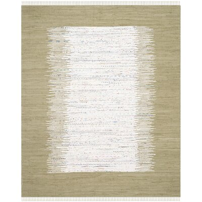 Ona Hand-Woven Ivory/Olive Area Rug Rug Size: Rectangle 26 x 4