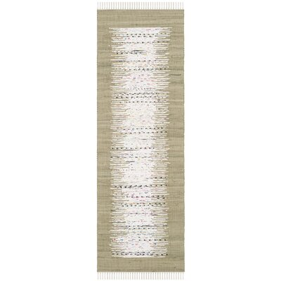 Ona Hand-Woven Ivory/Olive Area Rug Rug Size: Runner 23 x 9