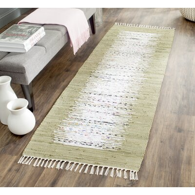 Ona Hand-Woven Ivory/Olive Area Rug Rug Size: Runner 23 x 7