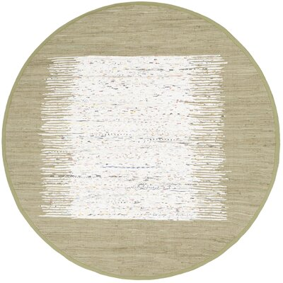 Ona Hand-Woven Ivory/Olive Area Rug Rug Size: Round 6