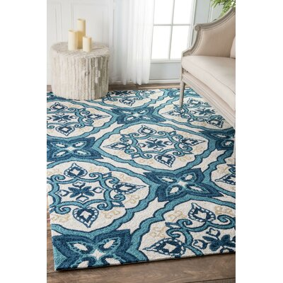 Crittenden Ornate Clover Hand-Hooked Blue Indoor/Outdoor Area Rug Rug Size: 8 x 10