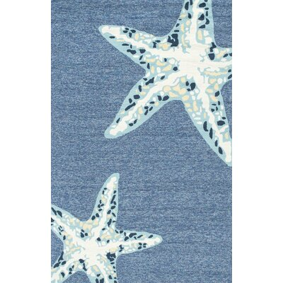 Palmers Jonah Hand-Hooked Light Blue Indoor/Outdoor Area Rug Rug Size: Rectangle 8 x 10
