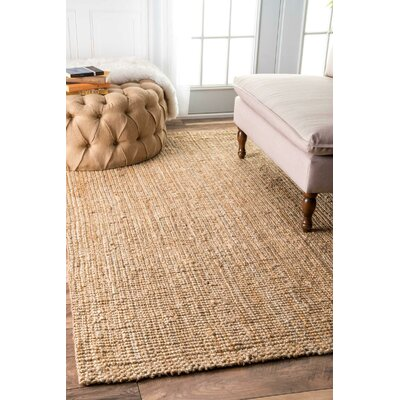 Montclair Hand-Woven Tan Area Rug Rug Size: Rectangle 76 x 96