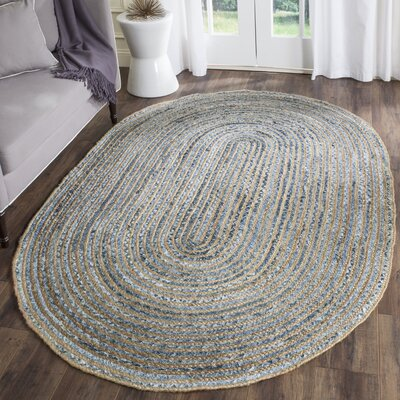 Palm Coast Hand-Woven Natural/Blue Area Rug Rug Size: Oval 9 x 12