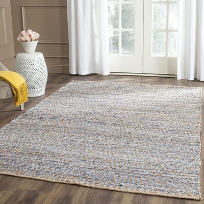 Arria Hand-Woven Natural/Blue Jute Area Rug Rug Size: Rectangle 2-3 X 12