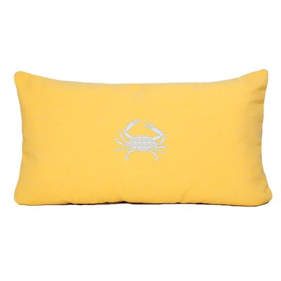 Wabasso Beach Outdoor Lumbar Pillow Color: Yellow, Size: 12 H x 20 W