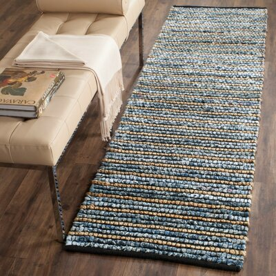 Cypress Quarters Hand-woven Blue/Natural Area Rug Size: Runner 26 x 8