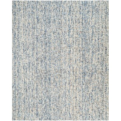 Hand-Tufted Dark Blue/Rust Area Rug Rug Size: 8 x 10