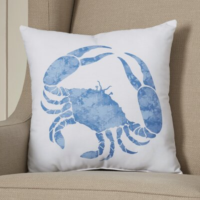 Boubacar Crab Throw Pillow Color: Blue, Size: 18 H x 18 W