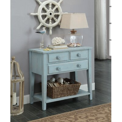 Yareli Rectangle Wood Console Table Color: Power Blue