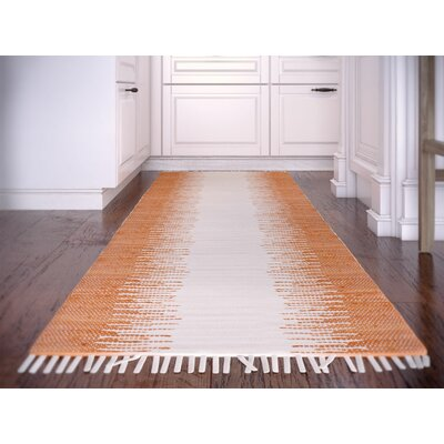 Anchor Hand-Woven Cotton Orange/White Area Rug Rug Size: Rectangle 26 x 4