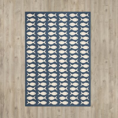 Lake Park Navy/Beige Indoor/Outdoor Area Rug Rug Size: Rectangle 67 x 96