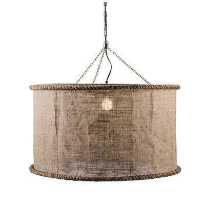 Gibsonton Linen Oversized 1-Light Drum Pendant