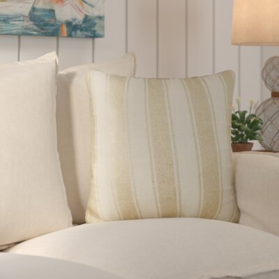 Laurel Striped Foil Cotton Throw Pillow Color: Ivory