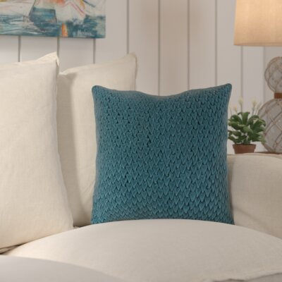 Penncross Tempting Triangles Cotton Throw Pillow Color: Teal Green, Size: 22 H x 22 W, Filler: Down
