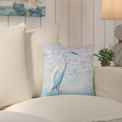Rocio Egret Animal Print Throw Pillow Size: 20 H x 20 W