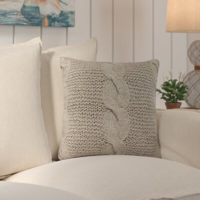 Loganville Cable Knit Throw Pillow Color: Beige