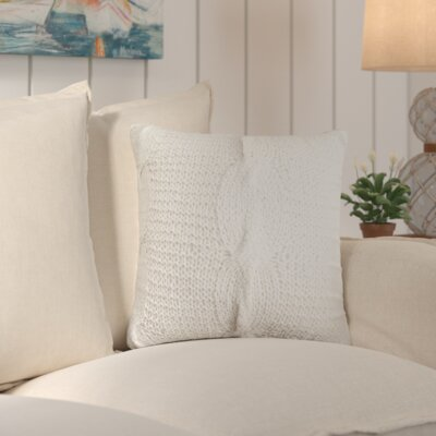 Loganville Cable Knit Throw Pillow Color: Cream