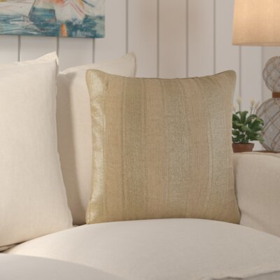 Laurel Striped Foil Cotton Throw Pillow Color: Natural