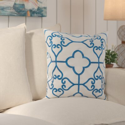 Nadia Indoor / Outdoor Euro Pillow Color: Royal Blue / Cream
