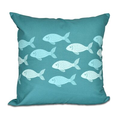 Golden Lakes Fish Line Coastal Throw Pillow Color: Teal, Size: 20 H x 20 W