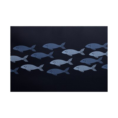 Golden Lakes Navy Blue Indoor/Outdoor Area Rug Rug Size: 4 x 6