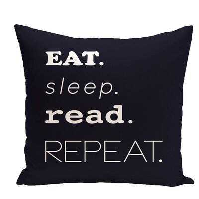 Cedarville Mantra Word Outdoor Throw Pillow Size: 20 H x 20 W, Color: Navy Blue