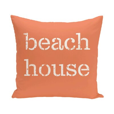 Rocio Beach House Word Throw Pillow Size: 16 H x 16 W, Color: Coral