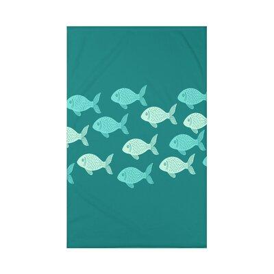 Golden Lakes Fish Line Coastal Fleece Throw Blanket Size: 60 L x 50 W x 0.5 D, Color: Teal